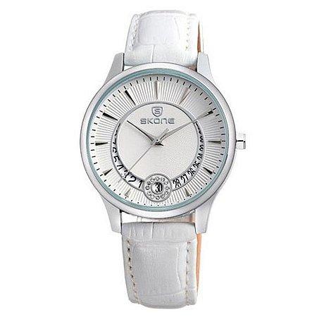 Relógio Feminino Skone Analógico Casual 9242BG Branco-