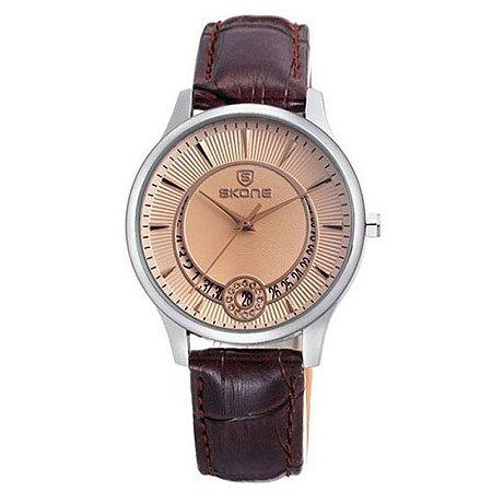 Relógio Feminino Skone Analógico Casual 9242BG Marrom-