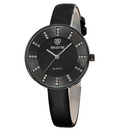 Relógio Feminino Skone Analógico Casual 9250 Preto-