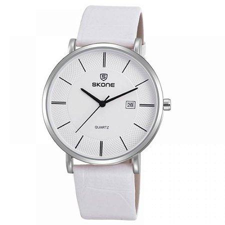 Relógio Feminino Skone Analógico Casual 9307BG Branco