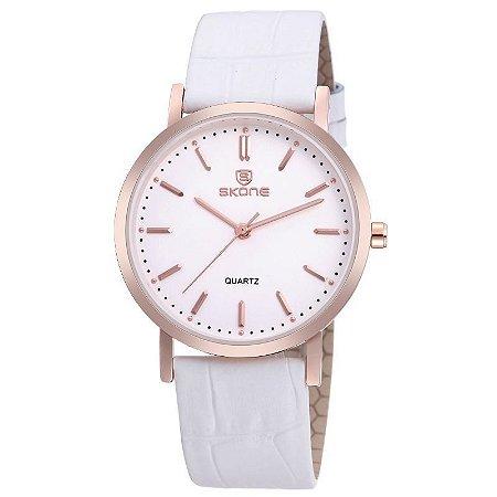 Relógio Feminino Skone Analógico Casual 9310 Branco-