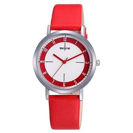 Relógio Feminino Skone Analógico Casual 9340 Vermelho-