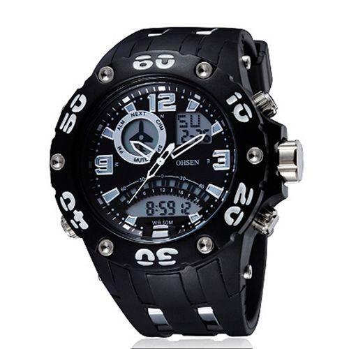 Relógio Masculino Ohsen AnaDigi Esporte  AD2801 Branco-
