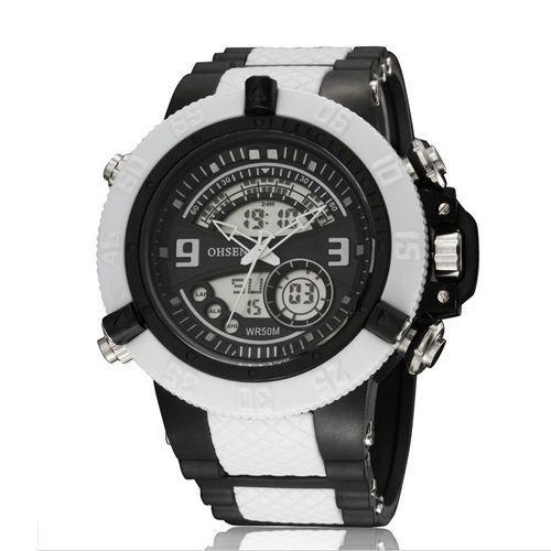 Relógio Masculino Ohsen AnaDigi Esporte  AD2811 Branco-
