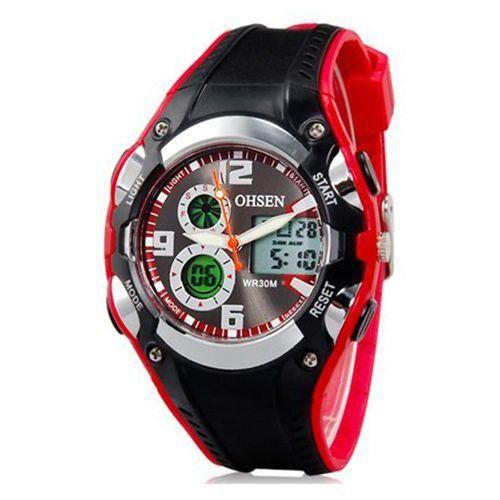 Relógio Masculino Ohsen AnaDigi Esporte AD1309 Vermelho-