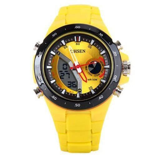 Relógio Masculino Ohsen AnaDigi Esporte AD2802 Amarelo-