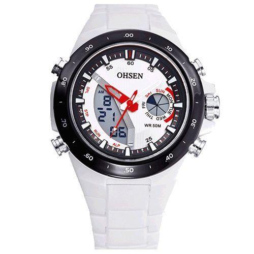 Relógio Masculino Ohsen AnaDigi Esporte AD2802 Branco-