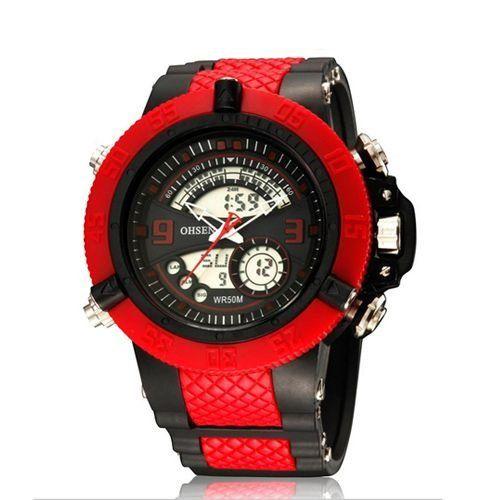 Relógio Masculino Ohsen AnaDigi Esporte AD2811 Vermelho-