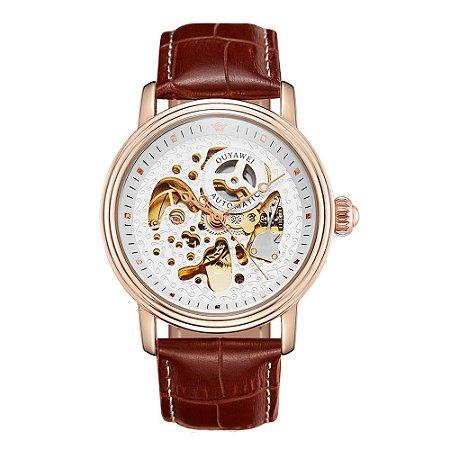 Relógio Automático Masculino Ouyawei Analógico - Marrom e Rosê