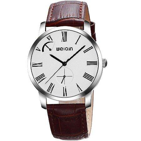 Relógio Masculino Weiqin Analógico Casual W23056 Prata e Marrom-