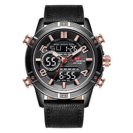 Relógio Masculino Kat-Wach AnaDigi KT1807 - Preto e Rosé