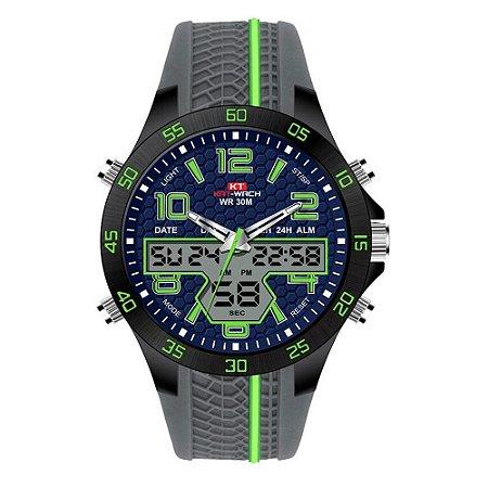 Relógio Masculino Kat-Wach AnaDigi KT722 - Cinza e Verde