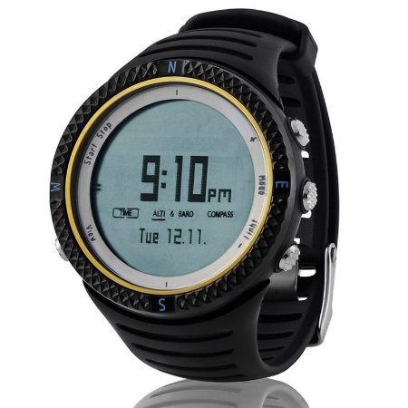 Relógio Masculino Spovan Digital Esporte Barometro Altimetro Bussola FX8001-B-