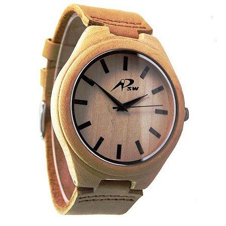 Relógio Masculino PSW Analógico Madeira PSW4 Marrom Claro-