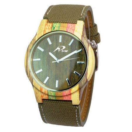 Relógio Masculino PSW Analógico Madeira PSW7 Verde-