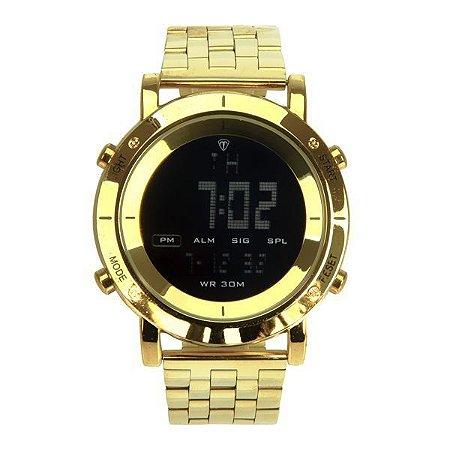 Relógio Masculino Tuguir Metal Digital TG6017 Dourado e Preto-