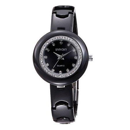 Relógio Feminino Weiqin Analógico Cerâmica W3206 Preto-