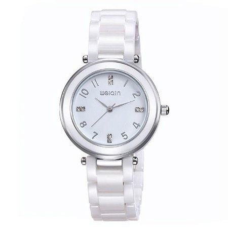 Relógio Feminino Weiqin Analógico Cerâmica W3210 Branco-