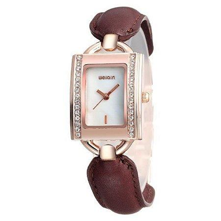 Relógio Feminino Weiqin Analógico W4492 Marrom-