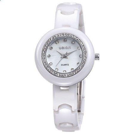 Relógio Feminino Weiqin Cerâmica Analógico W3210 Branco-