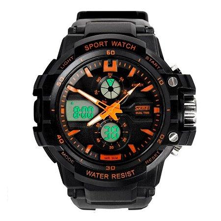 Relógio Infantil Menino Skmei AnaDigi 0990L - Preto e Laranja