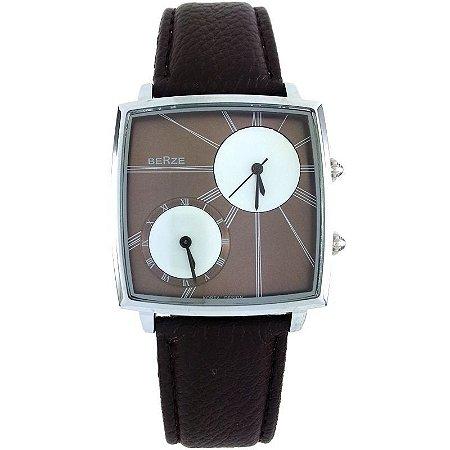 Relógio Analógico Social Berze BT155M Marrom e Cobre-