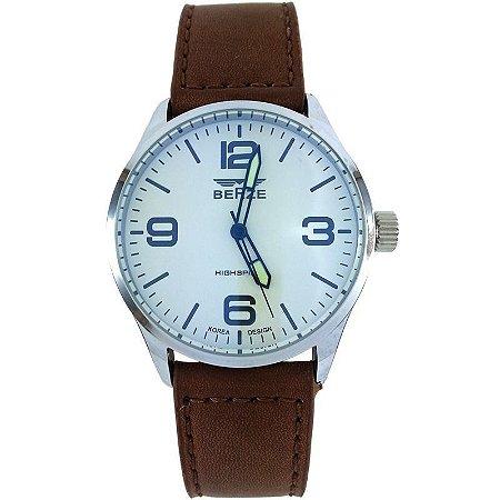 Relógio Analógico Social Berze BT168 Marrom e Branco-