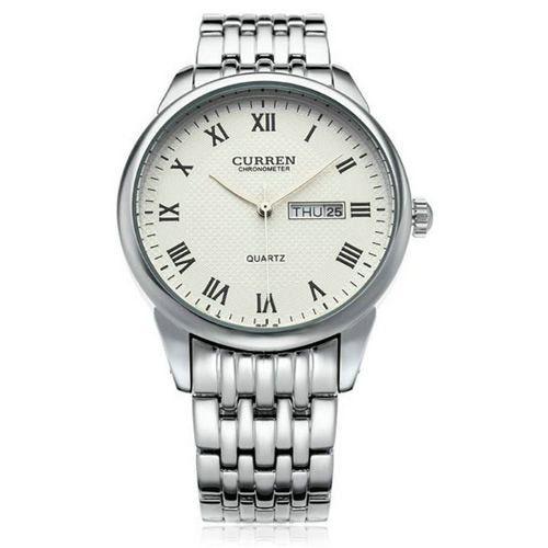 Relógio Curren Analógico 8086 Prata e Branco-