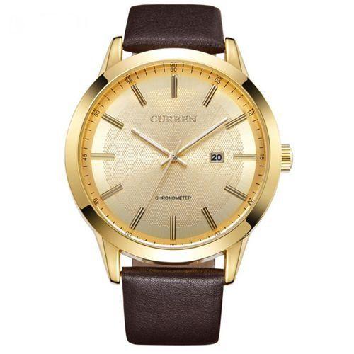 Relógio Curren Analógico 8114 Marrom e Dourado-