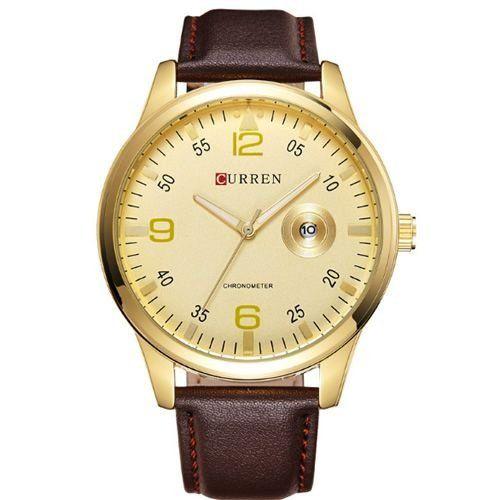 Relógio Curren Analógico 8116 Marrom e Dourado-