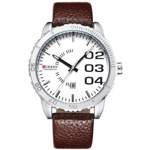 Relógio Curren Analógico 8125 Marrom e Branco-