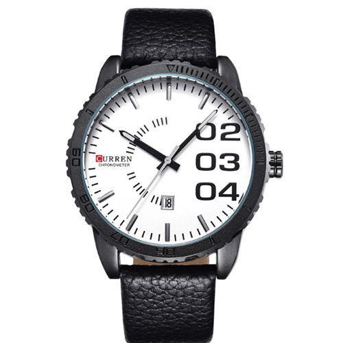Relógio Curren Analógico 8125 Preto e Branco-