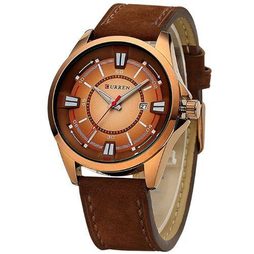 Relógio Curren Analógico 8155 Marrom e Dourado-