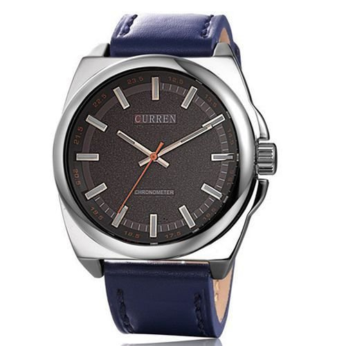 Relógio Curren Analógico 8168 Azul e Prata-