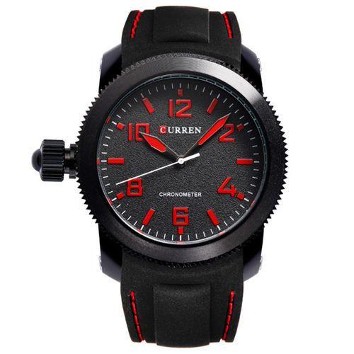 Relógio Curren Analógico 8173 Preto e Vermelho-