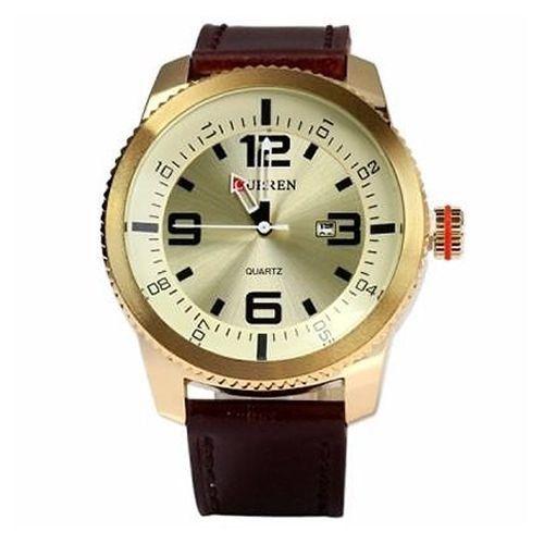 Relógio Curren Analógico 8180 Marrom e Dourado-