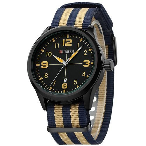 Relógio Curren Analógico 8195 Bege e Azul-