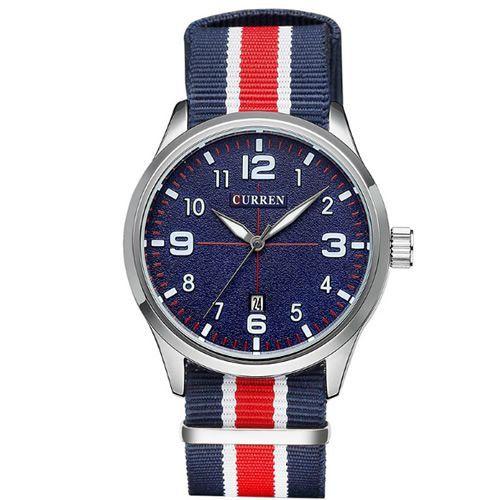 Relógio Curren Analógico 8195 Prata e Azul-