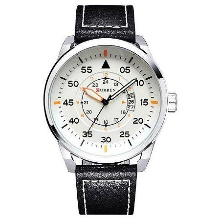 Relógio Curren Analógico 8210 Branco-