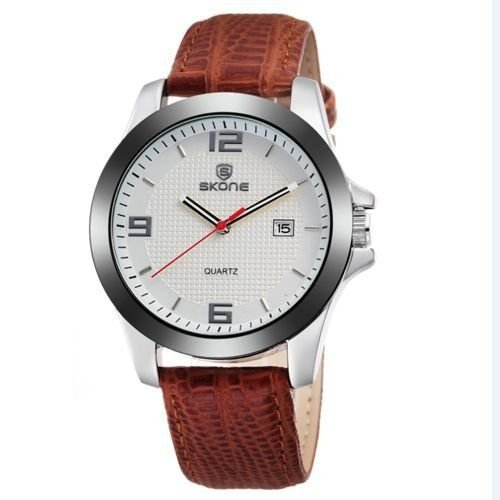 Relógio Unissex Skone Analógico Casual 9180BG Branco-
