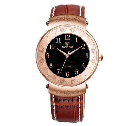 Relógio Unissex Skone Analógico Casual 9413G Marrom e Dourado-