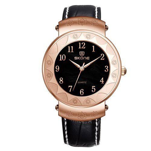 Relógio Unissex Skone Analógico Casual 9413G Preto e Dourado-