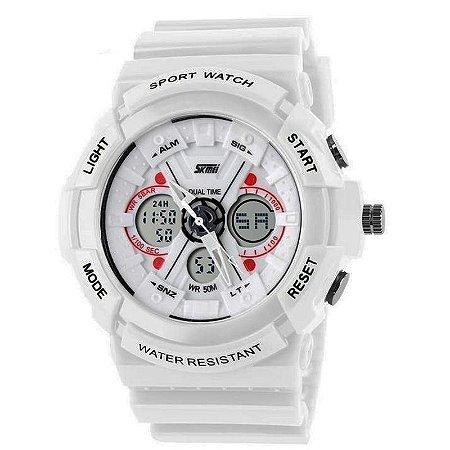 Relógio Skmei Anadigi 0966 Branco-