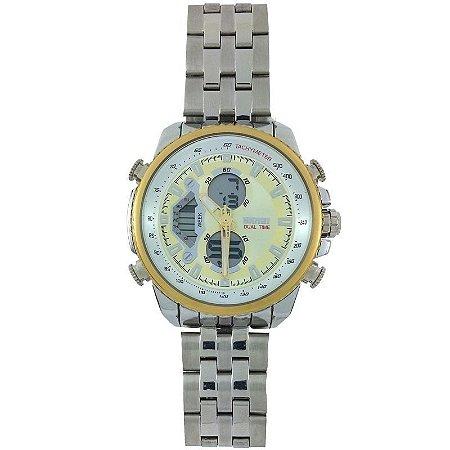Relógio Skmei Anadigi 0993 Prata e Dourado-