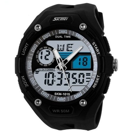 Relógio Skmei Anadigi 1015 Preto e Prata-