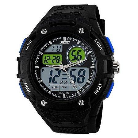 Relógio Skmei Anadigi 1018 Preto e Azul-