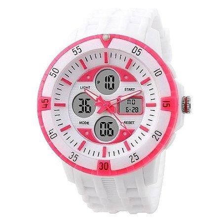 Relógio Skmei Anadigi 1046 Branco e Rosa-