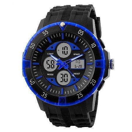 Relógio Skmei Anadigi 1046 Preto e Azul-