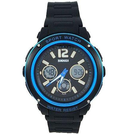 Relógio Skmei Anadigi 1051 Preto e Azul-