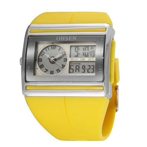 Relógio Unissex Ohsen AnaDigi Esporte AD0518 Amarelo-